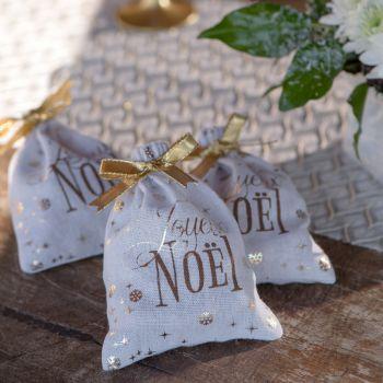 2 Sachets en coton Boule de Noël or