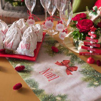 Chemin de table Boule de Noël rouge