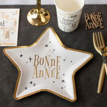 10 Assiettes étoile Bonne Année blanche or