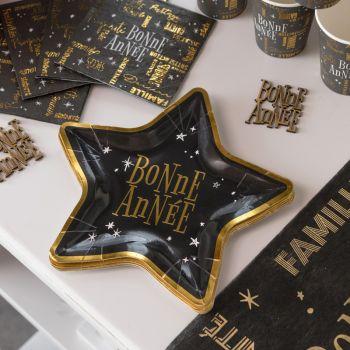 10 Assiettes étoile Bonne Année noire or