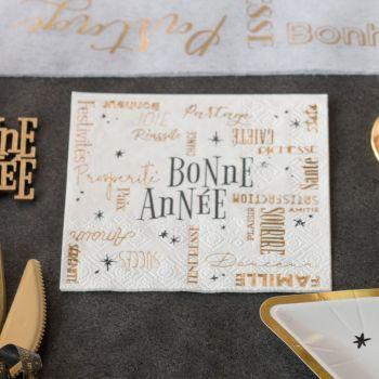 20 Serviettes Bonne Année blanche or