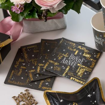 20 petites serviettes Bonne Année noir or