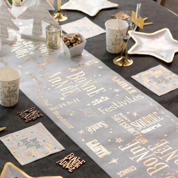 Chemin de table Bonne Année blanc or