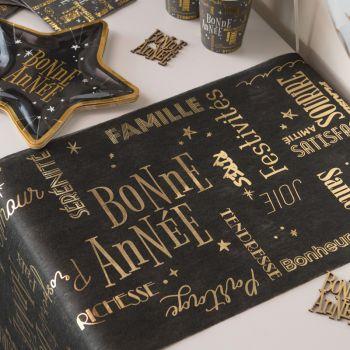 Chemin de table Bonne Année noir or