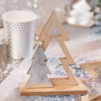 Centre de table Sapin Noël naturel et argent