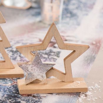 Centre de table Etoile Noël naturel et argent