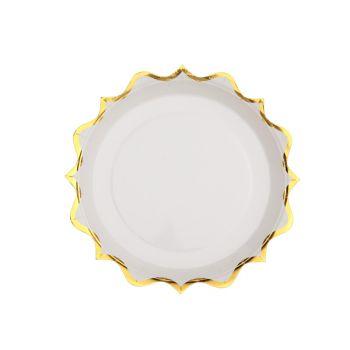 10 petites assiettes festonnés or