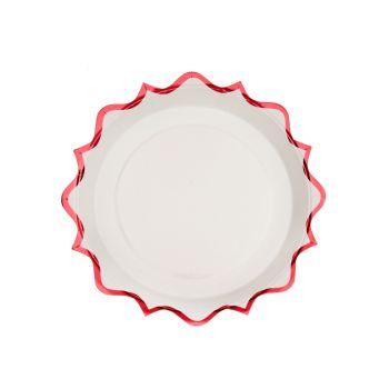 10 petites assiettes festonnés rouge