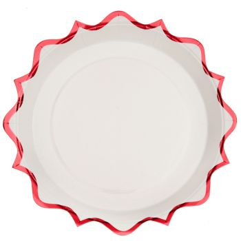 10 assiettes festonnés rouge