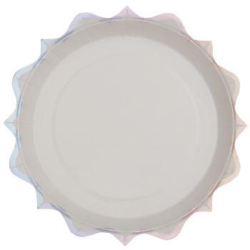 10 assiettes festonnés irisé