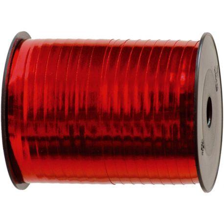 Grosse bobine de bolduc métallisé de couleur rouge pour une belle décoration de cadeau de NoëlDimensions : largeur 7mm x 250 mètres