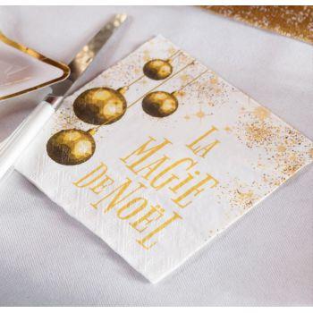 20 serviettes La Magie de Noël or