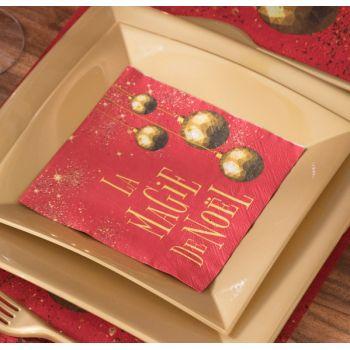 20 serviettes La Magie de Noël rouge