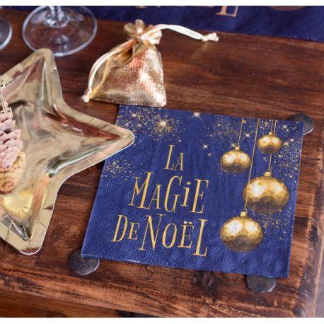 20 serviettes en papier décor La Magie de Noël bleu pour une belle décoration de table de NoëlDimensions : 16.5 x 16.5cm