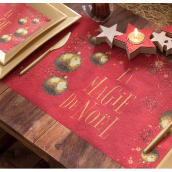 Chemin de table La Magie de Noël rouge