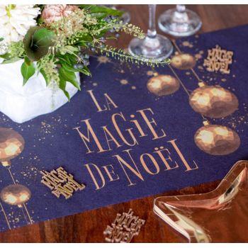 Chemin de table La Magie de Noël bleu