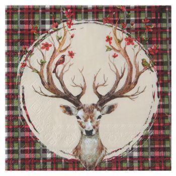 20 serviettes Noël Ecossais