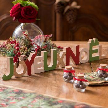 Décor de table Joyeux Noël rouge et vert
