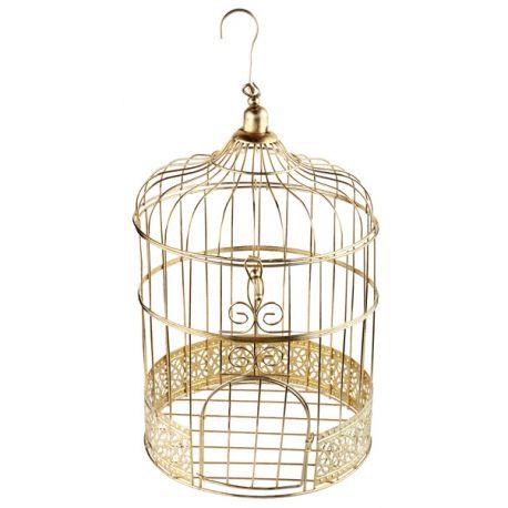 Cage en métal de couleur or pour faire un beau centre de table ou une tirelire à enveloppesDimensions : Ø20cm x H31cm