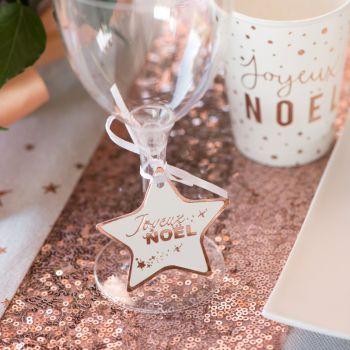12 Marque place étoiles Noël rose gold
