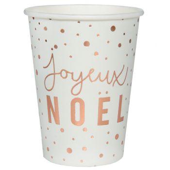 10 gobelets Joyeux Noël rose gold