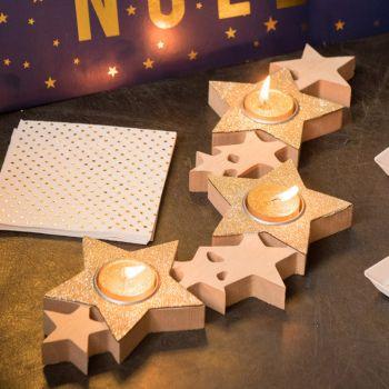 Porte bougies étoiles or
