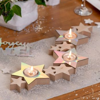 Porte bougies étoiles irisé