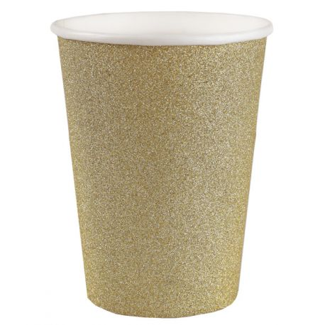 10 gobelets en carton pailleté or pour une belle décoration de table NoëlDimensions : ø 7.8 x 9.7 cm