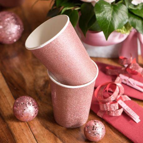 10 gobelets en carton pailleté gold rose pour une belle décoration de table NoëlDimensions : ø 7.8 x 9.7 cm