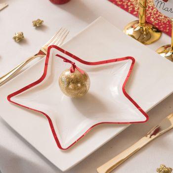 10 assiettes étoile bord rouge