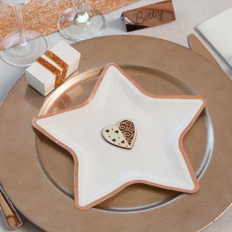 10 assiettes en carton en forme d'étoile avec liseré de couleur gold rose métallisés idéal pour pour une décoration de table...