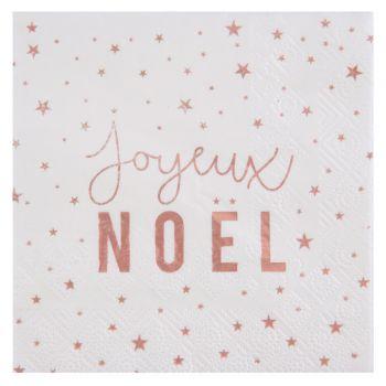 20 serviettes étoiles Joyeux Noël rose gold