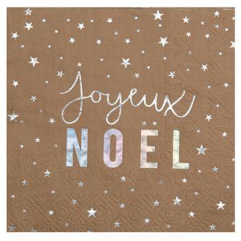 20 serviettes étoiles Joyeux Noël irisé
