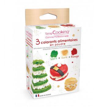Kit 3 colorants alimentaire en poudre Noël Scrapcooking