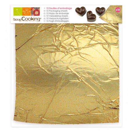 Lot de 10 feuilles dorées pour emballer vos œufs ou petits chocolats, effet de surprise garantie !Aluminium doré apte au...