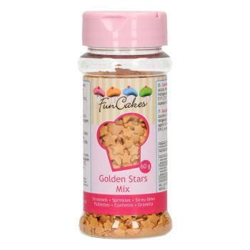 Confettis en sucre mix étoiles or Funcakes