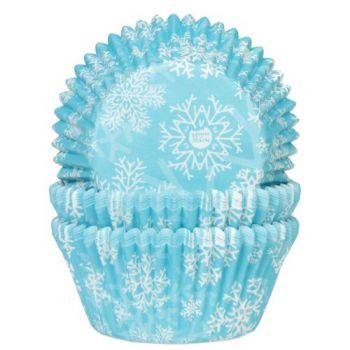 50 Caissettes cupcakes Flocons bleu