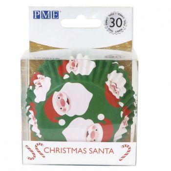 30 Caissettes cupcakes alu Père Noël