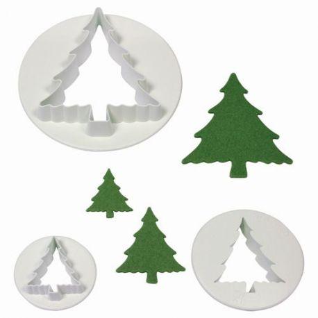 Ensemble de 3 jolies emporte pièce en plastique blanc en forme de sapin de Noël.Tailles: 6,5 cm hauteur x 5,5 cm. largeur, 3,5 x 3...