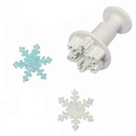 Emporte-pièce de précision à piston en forme de cristal de neige. Facile à utiliser pour un résultat époustouflant!Diamètre: ± 5cm.