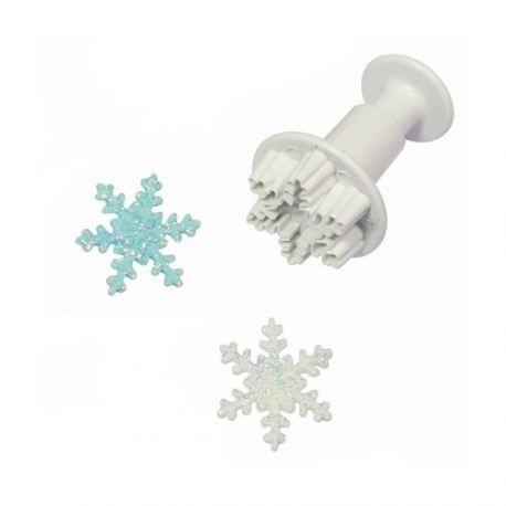 Emporte-pièce de précision à piston en forme de cristal de neige. Facile à utiliser pour un résultat époustouflant!Diamètre: ± 3 cm.