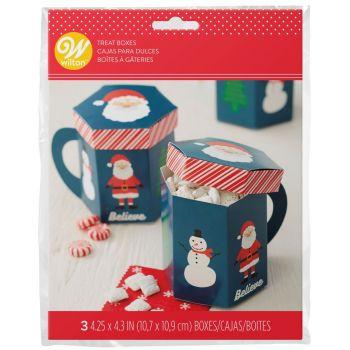 3 boîtes à gâteaux mug de Noël Wilton