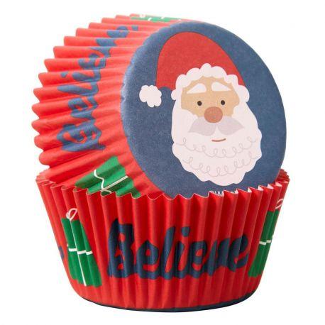 Ces caissettes à cupcakes avec un Père Noël sont parfaites pour vos cupcakes, brownies et autres douceurs de...