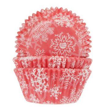 50 Caissettes cupcakes Flocons rouge