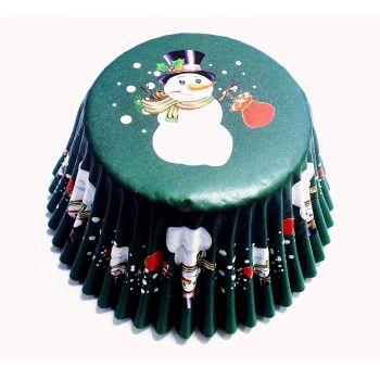 30 Caissettes cupcakes alu Bonhomme de neige