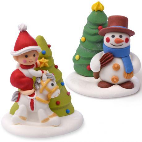 2 belles figurines de Noël assortis en sucre pour décorer vos dessert de fête de fin d'année