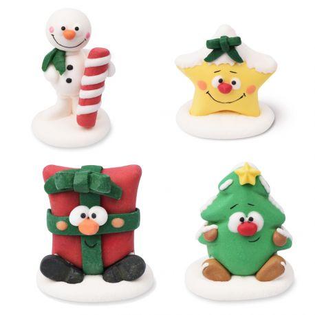4 belles figurines de Noël assortis en sucre pour décorer vos dessert de fête de fin d'année