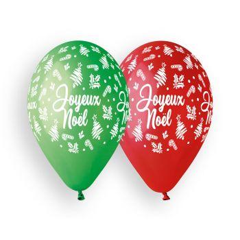 10 Ballons Joyeux Noël rouge et vert