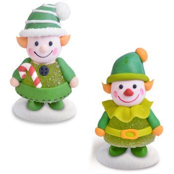 2 Figurines lutins Noël gélifiés