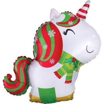 Ballon hélium licorne de Noël